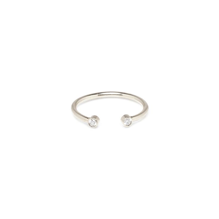 14k white diamond open ring