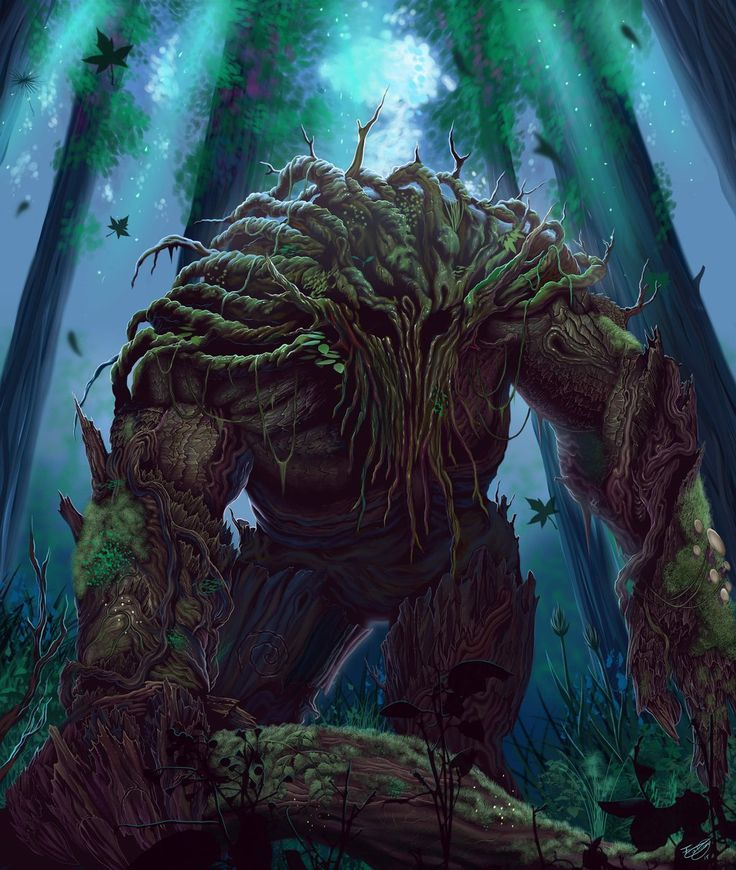 Treefolk by malverro treant troll forest spirit guardian woods moss mushrooms monster beast creature animal   Create your own roleplaying game material w/ RPG Bard: www.rpgbard.com   Writing inspiration for Dungeons and Dragons DND D&D Pathfinder PFRPG Warhammer 40k Star Wars Shadowrun Call of Cthulhu Lord of the Rings LoTR + d20 fantasy science fiction scifi horror design   Not Trusty Sword art: click artwork for source