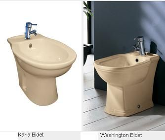 Karla Ivory Floor Mounted Bidet and Washington Ivory Floor Mounted Bidet (matching ivory toilet available) from Bathrooms and Kitchens Builders Express Underwood, website www.bathroomsnkitchens.com.au