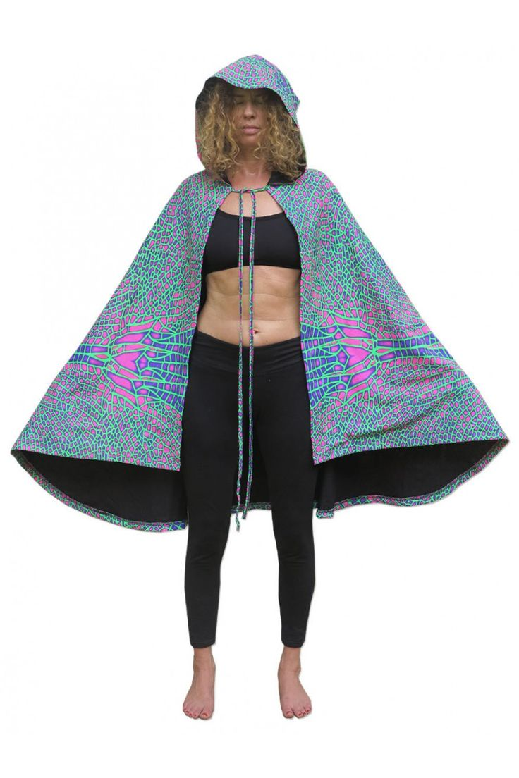 Hooded Cape : Acid DragonflyPrinted cape with Pixie Hood.UV Active !Drawstring fastening.Fully lined with black fabric.100% cotton.Machine washable.Artwork by Space Tribe