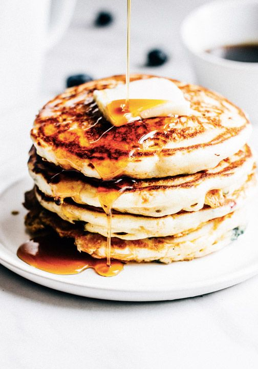 A stack of fluffy corn and blueberry pancakes topped with maple syrup is the sweetest way to start the day. Balance out this delicious morning treat with a savory glass of Nespresso Grand Cru for a bold and flavorful breakfast moment.