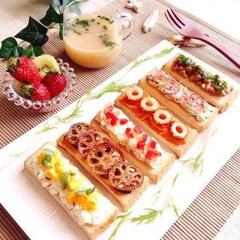 納豆にレンコン、竹輪、お味噌汁が似合うオープンサンド。 和風の具材はマヨネーズと相性がいいのでパンにも合うのも納得。