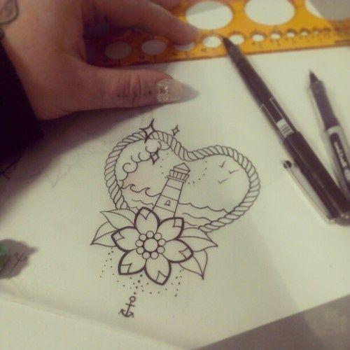 Leuchtturm, Herz, Anker, Blume
