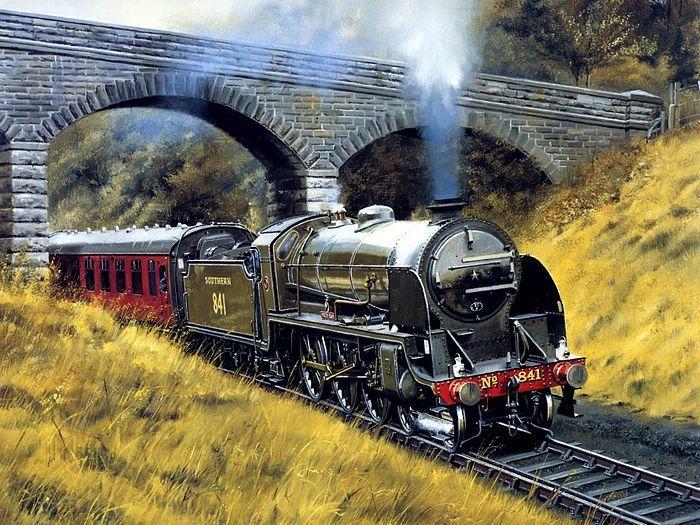 El tren es una locomotora con un motor y coches(entrenadores) y los carriles proporcionan las pistas en las cuales estos trenes se mueven.