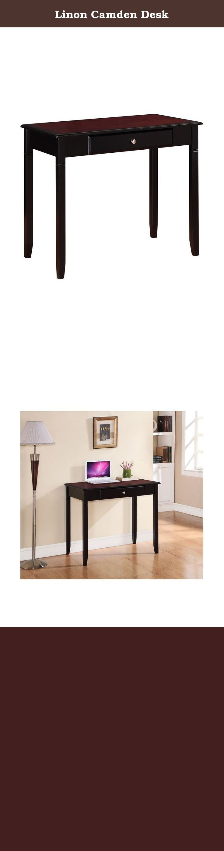 Linon Camden Desk. The Camden Collection has a transitional design and style. Perfect for small spaces, each item occupies minimal floor space but provides ample storage and display space. The rich Black Cherry finish exudes sophistication. The Camden Desk is perfect for placing in a living space or home office. A single storage drawer keeps supplies neat and tidy, while a large smooth top provides ample space for books and a laptop. A stylish and versatile addition to your home.