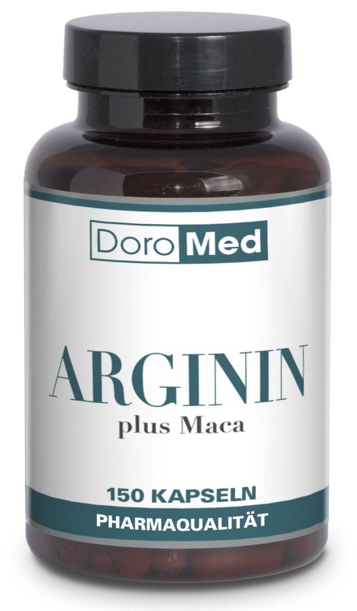 L-Arginin plus Maca Kapseln - Hochdosiert und Rein - 1600 mg L-Arginin + 400 mg Maca Extrakt + 147 mg Traubenkernextrakt pro Tagesdosis (4 Kapseln) - 150 vegane Kapseln - Pharmaqualität Deutscher Herstellung