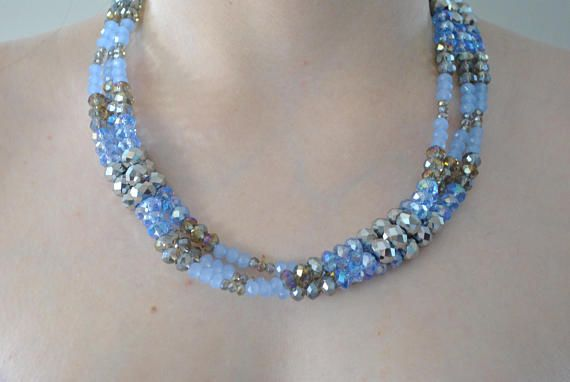 Silver & Blue Three Strand Faceted Crystal Artisan Necklace #necklace #triple #triplestrand #artisan #artisannecklace #handmade #oneofakind #faceted #crystals #crystal #facetedcrystals #blue #silver #lavender #paleviolet #violet #feminine #flirty #sparkly #iridescent #pretty