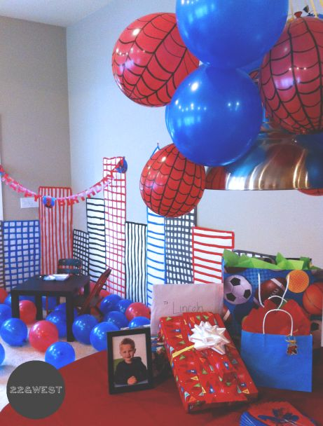 Spiderman Party | 22 & West.         Webs on red balloons make it!