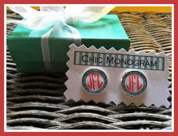 Monogrammed Earrings Monogrammed Gifts by ChicMonogram, $9.95