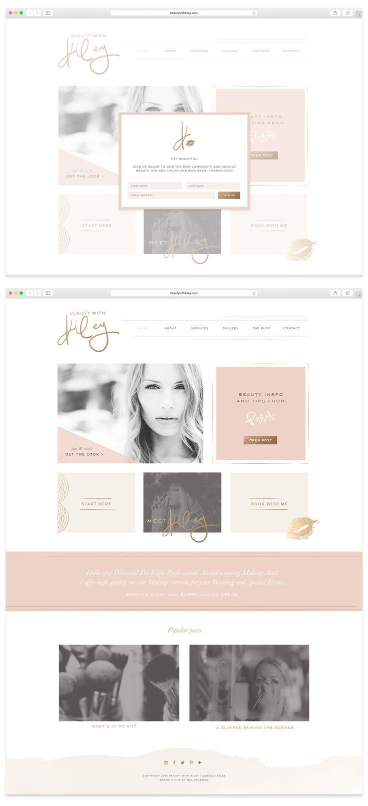 Custom Website by Mel Volkman Custom WordPress Website Design and Development Custom Blog Feminine Website and Blog Design Beauty Brand Beauty With Kiley Makeup Website Design