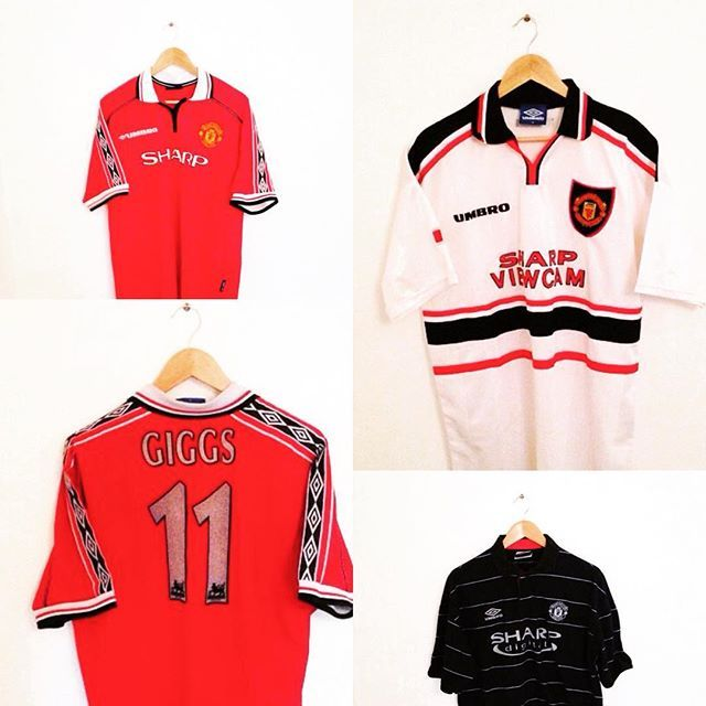 Vintage umbro Manchester United home and away shirts from the fergie era, available in store! Link in bio #mufc #manchesterunited #manunited #manunitedshirt #umbro #redevils #vintage #vintagefootball #football #footballshirt #retrofootball #premierleague #premiership #oldtrafford #soccer #soccerjersey #vintagefootballshirt#retroshirt