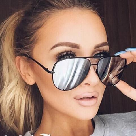 Allie- Silver Mirrored Aviator Sunglasses