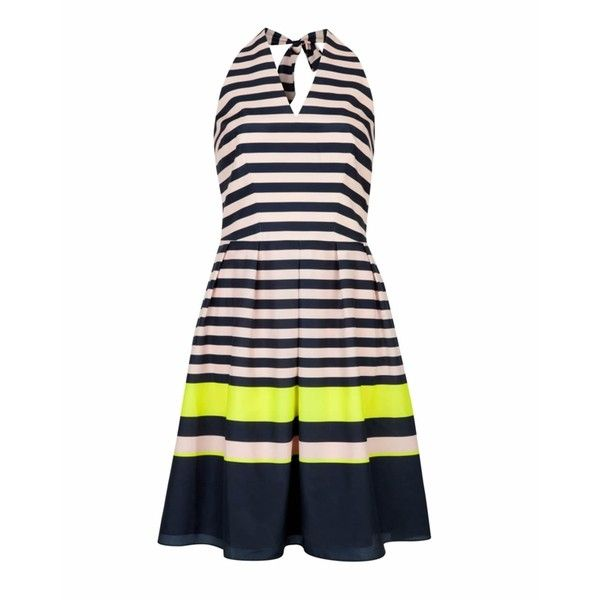 Ted Baker SARERA Candy Bar Stripe Dress in Navy ($210) ❤ liked on Polyvore featuring dresses, navy blue dress, pink dress, pink striped dress, navy striped dress and navy stripe dress