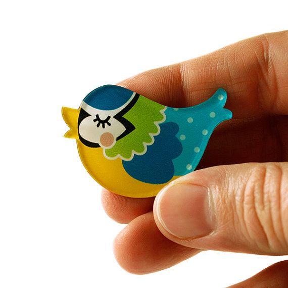 Blue Tit Brooch, Blue Tit Pin, Bird, Badge, Acrylic Brooch, Acrylic Glass