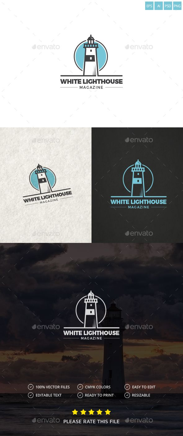 Lighthouse Logo by Exe-Design 鈥ogo Template 100 鈥e-sizable vector 100 ...