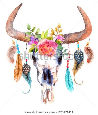 Watercolor bull skull with flowers and feathers, Vector - stock vector