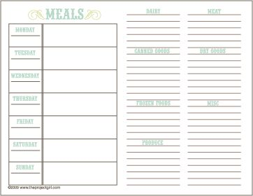 This is the best printable ever.  Places to plan dinners for the week, plus, a spot for your shopping list, organized by category.  Shttp://480degrees.com/