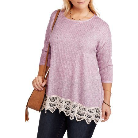 Plus Size Faded Glory Women's Plus Ribbed Knit Top with Lace, Size: 1XL, Blue