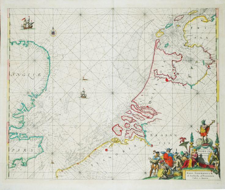 Oude zeekaart van Nederland/ Old antique sea-chart of the Nether