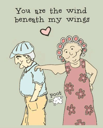 Funny and sweet anniversary card or Valentine. You are the wind beneath my wings.