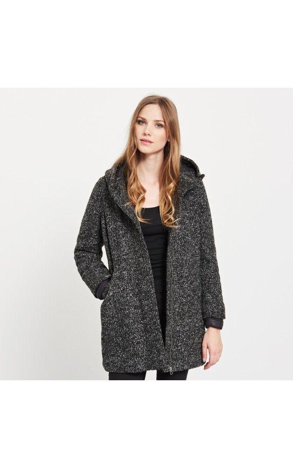 Płaszcz z domieszką wełny, KURTKI, PŁASZCZE, czarny, RESERVED