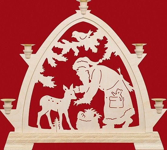 Kleine gotische Bögen für Wachskerzen Weihnachtsmann mit Reh