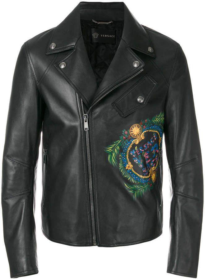 Versace logo print biker jacket #menswear #summer #bikerjacket #biker #jacket