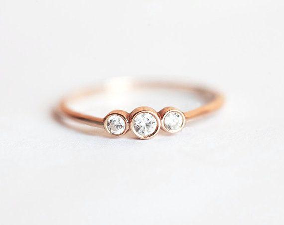 Three Stone Round Brilliant Cut Diamond Engagement by MinimalVS
