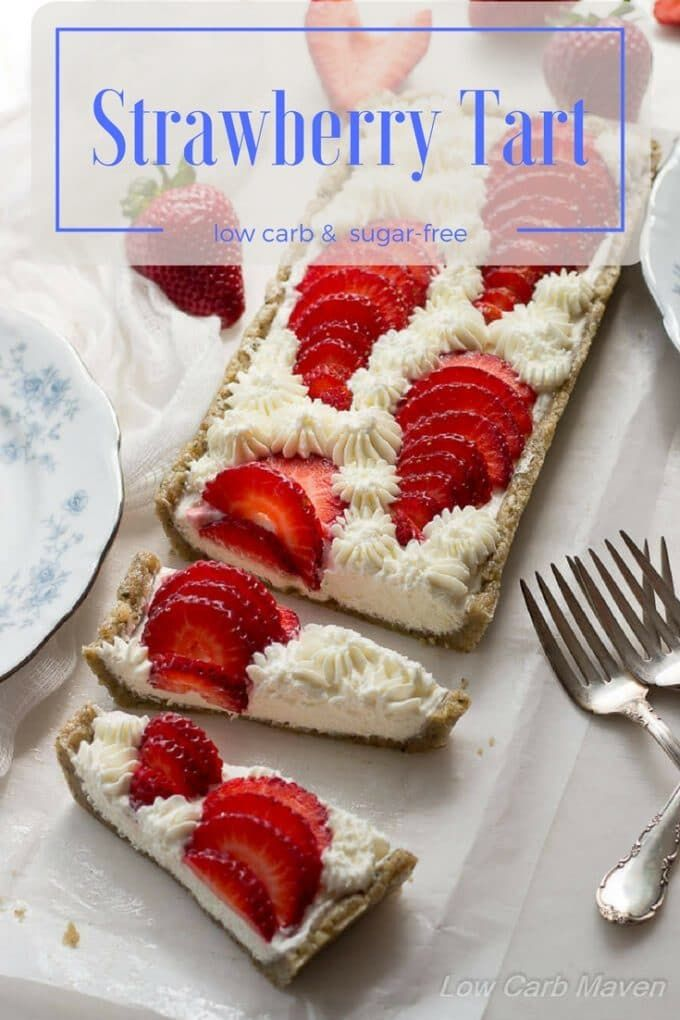A beautiful and easy no-bake strawberry tart. This low carb strawberry dessert is made with cream cheese and goat cheese with a low carb hemp walnut press-in crust. Serve this easy keto dessert to friends and family for any occasion.