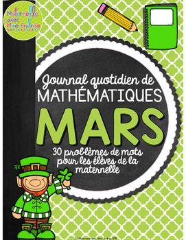 Journal quotidien de maths - MARS (French Math Journal Prompts) - 1e année | first grade |mathématiques | la Saint Patrick