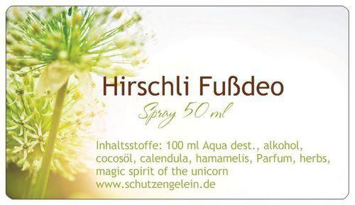 Hirschli Fußspray Deo, gegen Fußschweiß, erfrischend, desinfizierend, Vorbeugung Fußpilz