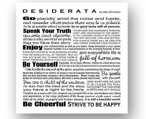 Desiderata Poem by Max Ehrmann 8x8 Black and White Inspirational Print Design by Ginny Gaura on Etsy, $10.00