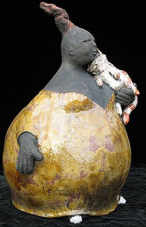 """Woman and cat"" - Ceramic Raku Sculpture by Annie Cotterot"