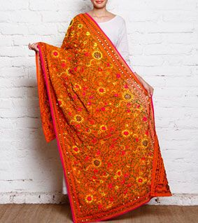 Burnt Orange Phulkari Embroidered Chiffon Dupatta
