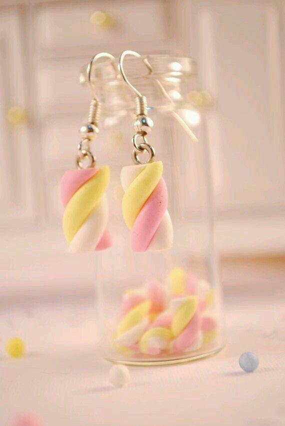 Boucles d'oreilles marshmallow en pâte fimo !