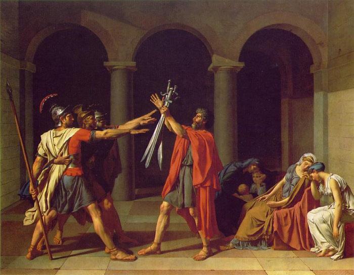 호라티우스 형제의 맹세 - 자크루이 다비드  1784. 루브르 박물관.  작품의 주인공인 호라티우스 삼형제는 로마 공화국에 충성을 맹세하지만 적국 쿠리아티우스 가문 여인과의 사랑에 속박되어 있었습니다. 결국 이들은 사적인 감정 대신 조국에 대한 충성을 선택합니다. 또한 이 작품은 프랑스 혁명의 슬로건이 되었는데 아이러니하게도 이 작품은 루이16세가 의회한 것이었습니다. 남자들의 용맹함이 느껴지는 한편, 뒤편에 나와있는 여인들의 모습을 보면 그들의 슬픔과 안타까움이 느껴집니다.