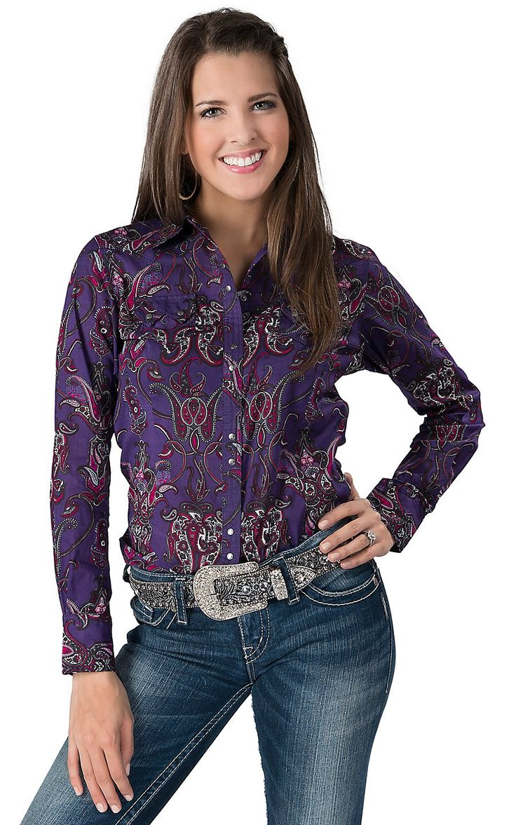 Ariat 174 Women S Purple With Pink Paisley Long Sleeve