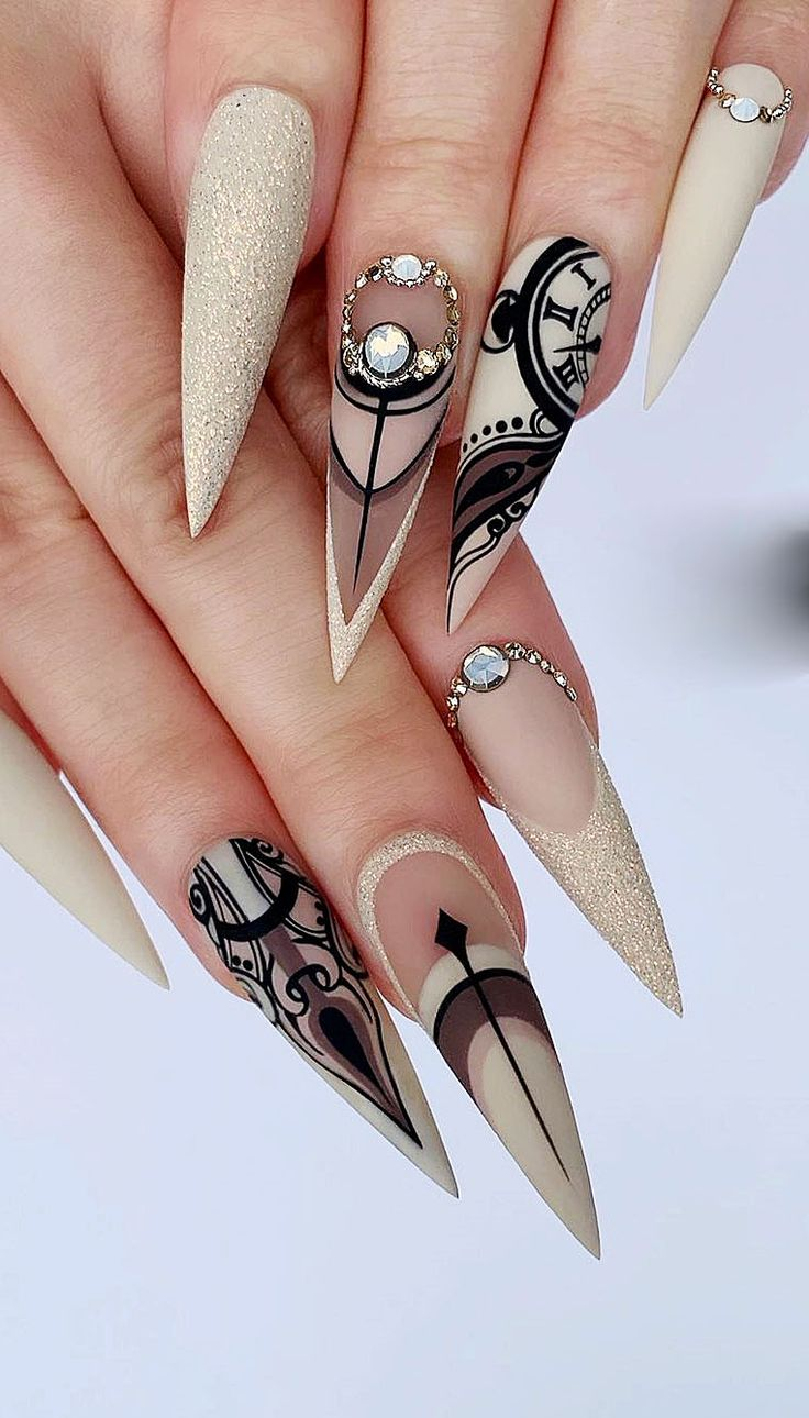 22 Long Acrylic Nail Design In Stiletto And Coffin Shapes. Model No 1 – Nails