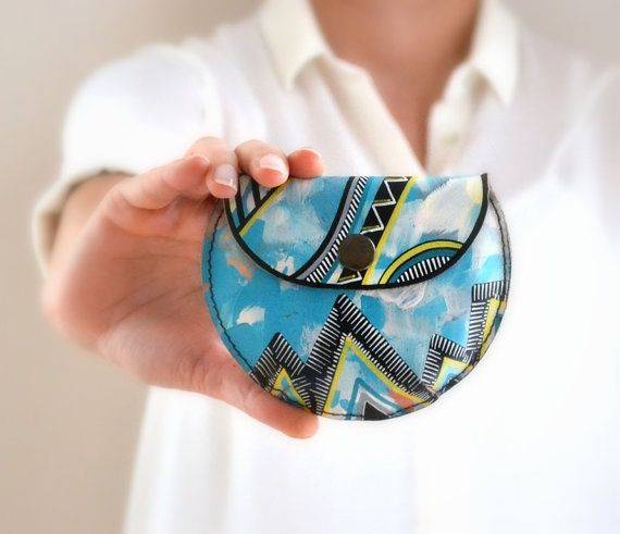 Mint Yellow Black White Doodled Leather Coin by BarbaLeatherWorks