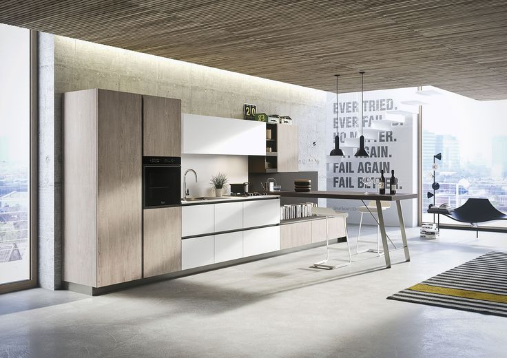 #Kitchen #First with doors in melamine grey limed oak and arctic white soft. Worktop in laminate arctic white and iron grey. #cucinecomponibili