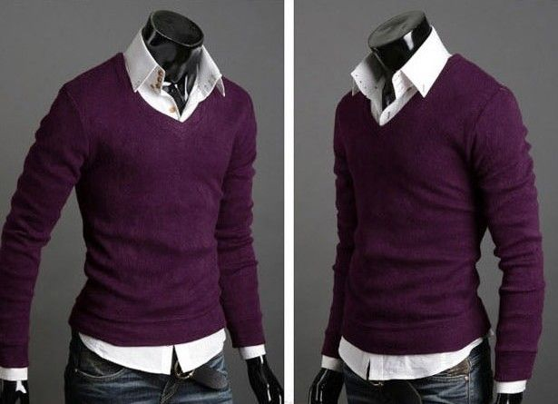 Best selling 7 Colour M XXL New Men Sweater Jumper Tops Cardigan Premium Stylish Slim Fit V neck Pullovers-in Pullovers from Apparel & Acces...