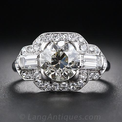 1.85 Carat Art Deco Diamond Engagement Ring