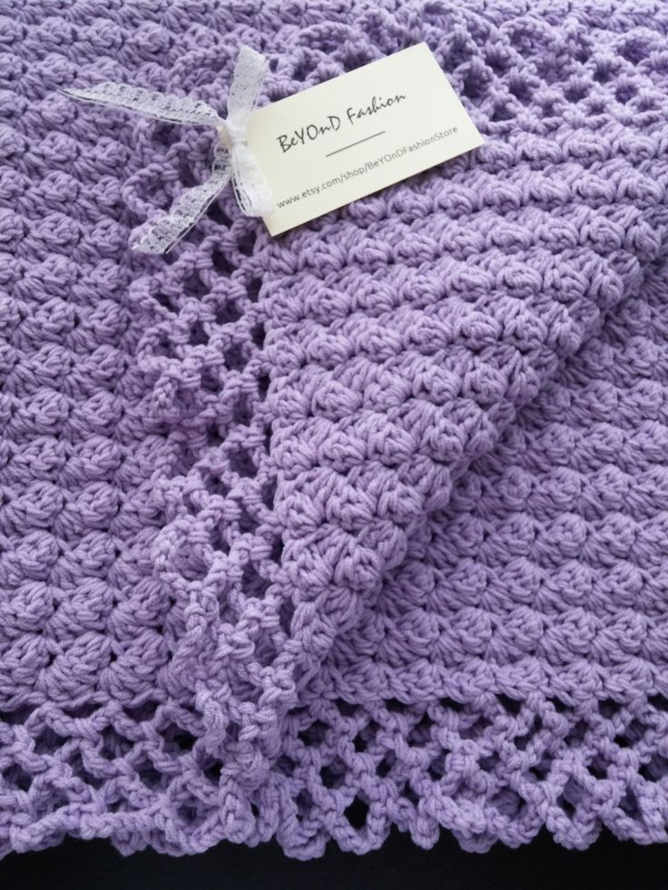 Lilac Crochet Cotton Baby Blanket Beyond Fashion by BeYOnDFashionStore on Etsy