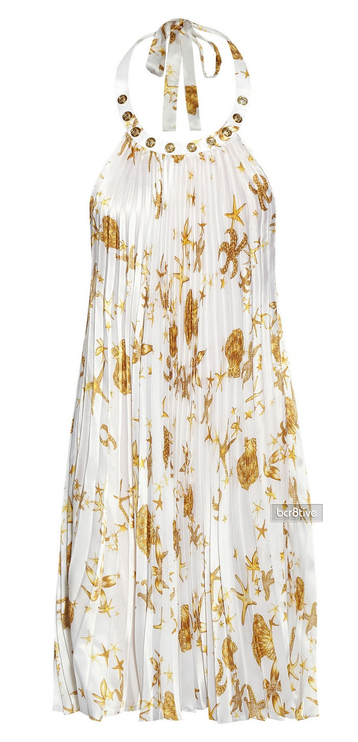 Book Cover Watercolor Dress : Versace backless gold starfish print pleated silk dress