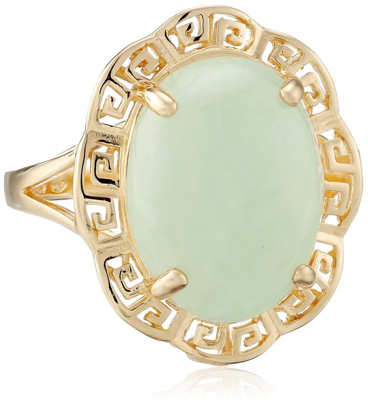 18k Yellow Gold Over Sterling Silver Green Jade Greek Key Ring, Size 7: