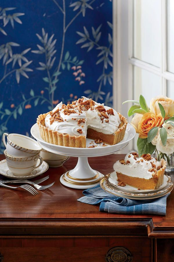 Pumpkin Tart with Whipped Cream and Almond Toffee - Splurge-Worthy Thanksgiving Desserts - Southernliving. Recipe:Pumpkin Tart with Whipped Cream and Almond Toffee  Molasses and pumpkin pie spice give this elegant take on pumpkin pie its deep autumnal flavor. Buy one 29-oz. can of pumpkin for the recipe.