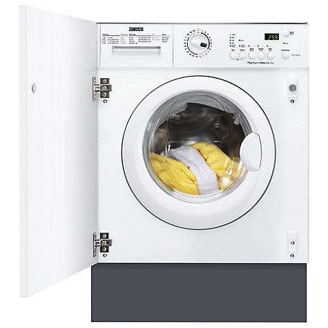 Buy Zanussi ZWT71201WA Integrated Washer Dryer, 7kg Wash/4kg Dry Load, C Energy Rating, 1200rpm Spin, White Online at johnlewis.com