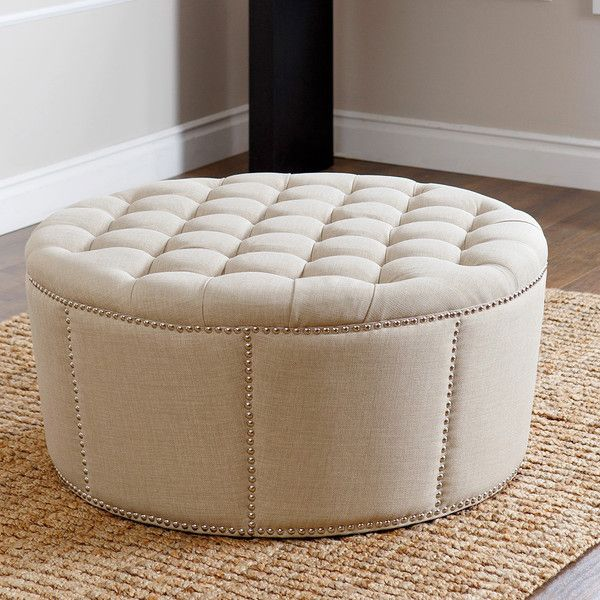 ABBYSON LIVING Newport Ivory Fabric Nailhead Trim Ottoman ($385) ❤ Liked On  Polyvore Featuring
