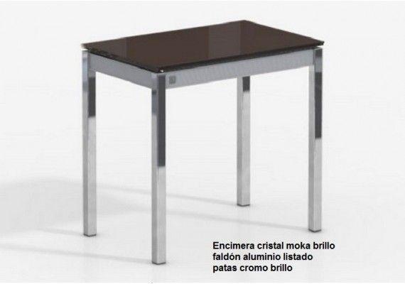Mesa pequeña y estrecha Bambola de cancio con patas cromadas y ...
