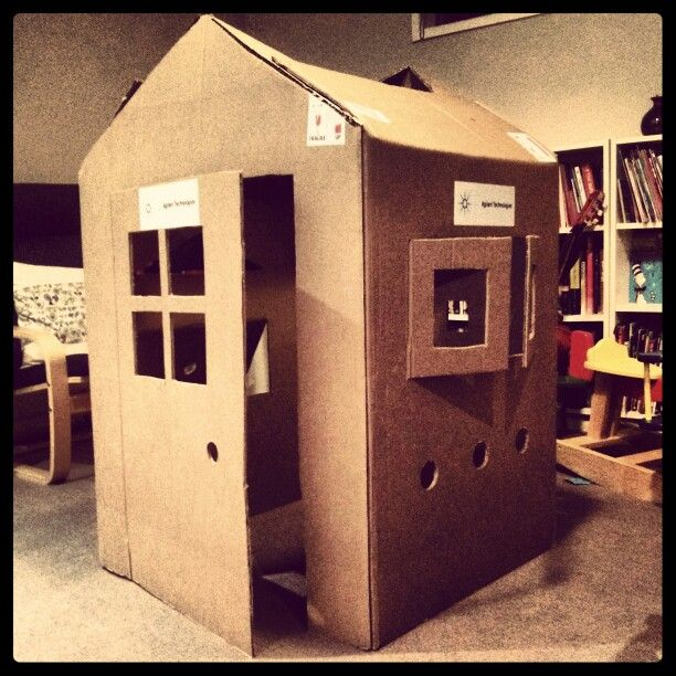 cardboard box house. cardboard box house ready to decorate with the boys r
